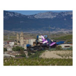 Elevated town view and Hotel Marques de Riscal 2 Posters