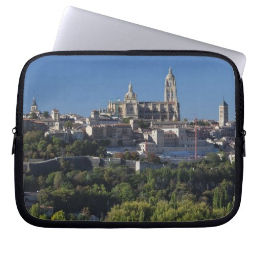 Elevated town view with the Segovia Cathedral Computer Sleeves