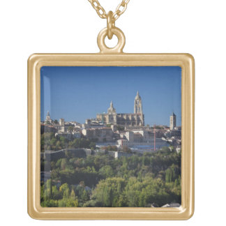 Elevated town view with the Segovia Cathedral Gold Plated Necklace