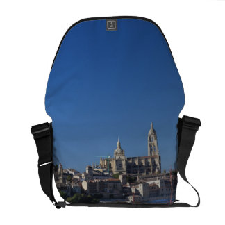 Elevated town view with the Segovia Cathedral Messenger Bag