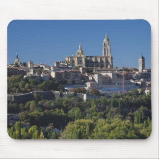 Elevated town view with the Segovia Cathedral Mouse Pad