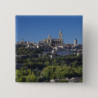 Elevated town view with the Segovia Cathedral Pinback Button