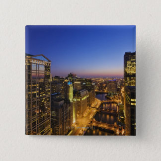 Elevated view, Chicago River Pinback Button