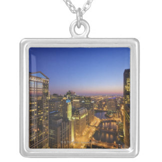 Elevated view, Chicago River Silver Plated Necklace