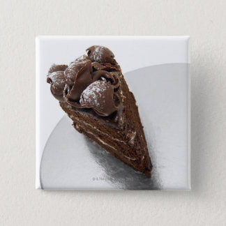 Elevated view of a piece of chocolate cake button