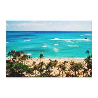 Elevated View Of Waikiki Beach Scene, Honolulu 2 Canvas Print