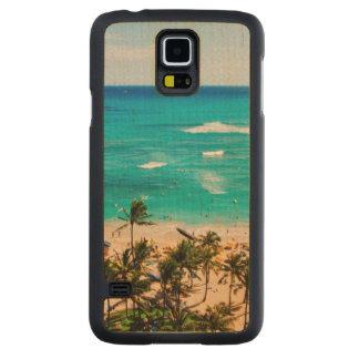 Elevated View Of Waikiki Beach Scene, Honolulu 2 Carved Maple Galaxy S5 Slim Case