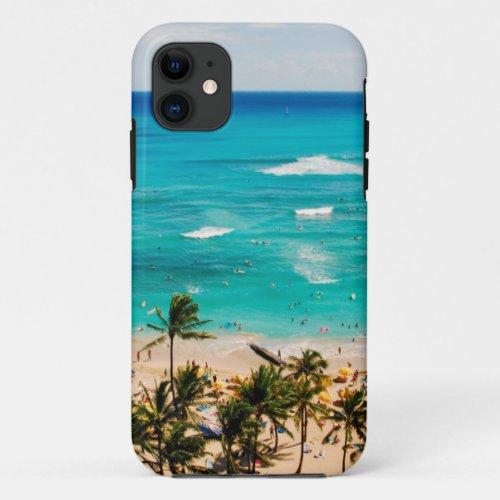 Elevated View Of Waikiki Beach Scene, Honolulu 2 Phone Case