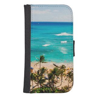 Elevated View Of Waikiki Beach Scene, Honolulu 2 Phone Wallets