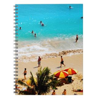 Elevated View Of Waikiki Beach Scene, Honolulu Spiral Notebook