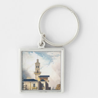 Elevation of an Italian Villa or Hunting Lodge Silver-Colored Square Keychain