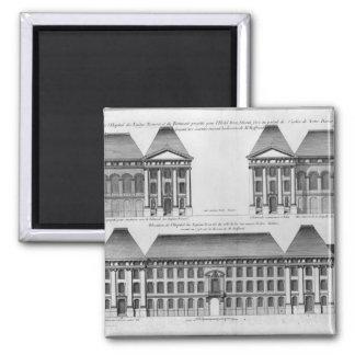 Elevation of the Hopital des Enfants Trouves 2 Inch Square Magnet
