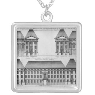 Elevation of the Hopital des Enfants Trouves Silver Plated Necklace