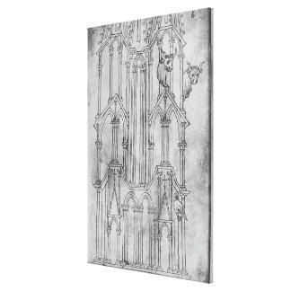 Elevation of the tower of Laon Cathedral Canvas Print