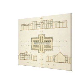 Elevations and ground plan of a glasshouse, from ' canvas print