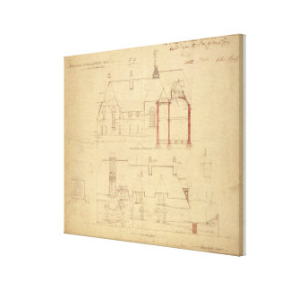 Elevations for The Red House, Bexley Heath (pen an Canvas Print