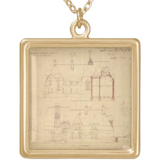 Elevations for The Red House, Bexley Heath (pen an Gold Plated Necklace
