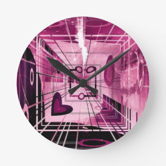 Elevator Down Abstract Round Clock