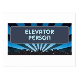 Elevator Person Marquee Postcard