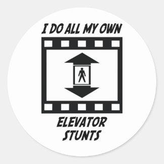 Elevator Stunts Classic Round Sticker