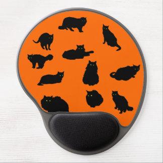 Eleven Black Cats on Orange Gel Mouse Pad