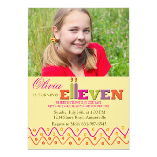 Eleven Candles Photo Invitation