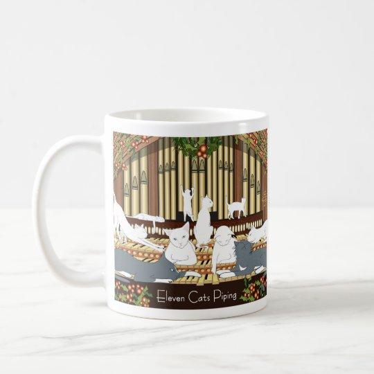 Eleven Cats Piping... Holiday Coffee Mug