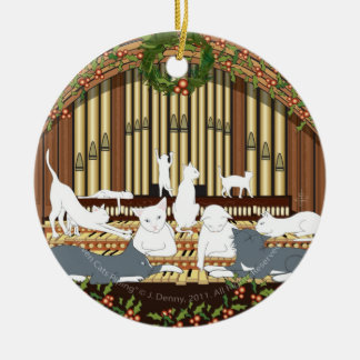 Eleven Cats Piping (tree ornament) Double-Sided Ceramic Round Christmas Ornament