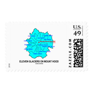 Eleven Glaciers On Mount Hood (Geology Map) Stamp