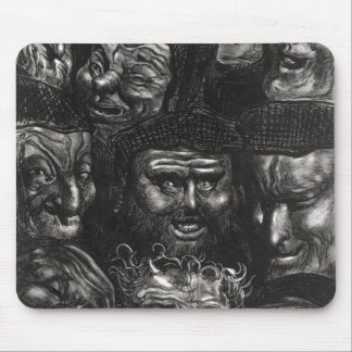 Eleven grotesque faces mouse pad