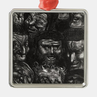 Eleven grotesque faces square metal christmas ornament