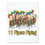eleven pipers piping  11th day of christmas 4.25x5.5 paper invitation card