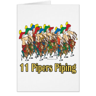 eleven pipers piping  11th day of christmas card