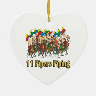 eleven pipers piping  11th day of christmas ceramic ornament