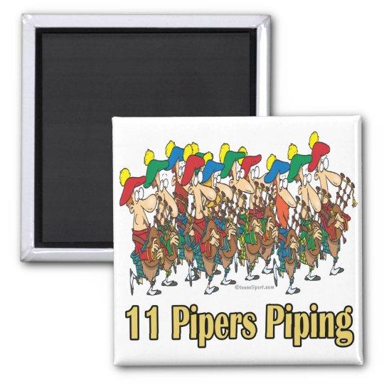 eleven pipers piping  11th day of christmas magnet