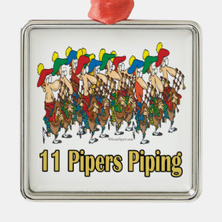 eleven pipers piping  11th day of christmas metal ornament