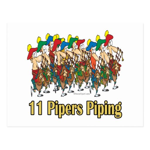 eleven pipers piping  11th day of christmas post cards