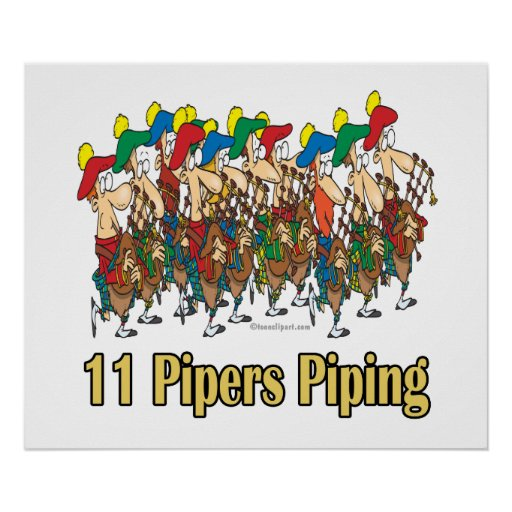 11 pipers piping images eleven pipers piping 11th day of christmas poster zazzle 9548