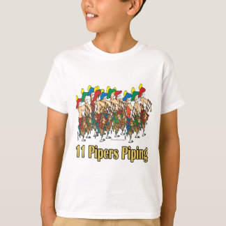 eleven pipers piping  11th day of christmas T-Shirt