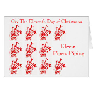 Eleven Pipers Piping Christmas Bagpipes Card