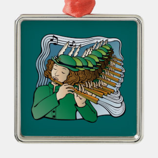 Eleven pipers piping square metal christmas ornament
