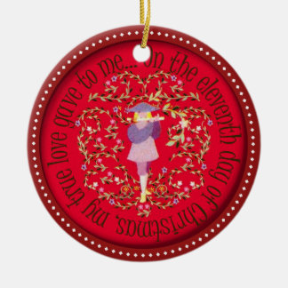 Eleven pipers piping Double-Sided ceramic round christmas ornament