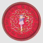 Eleven pipers piping round sticker