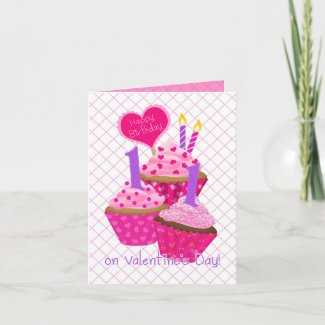 Eleven Years Old Valentine's Day Birthday for Girl Card
