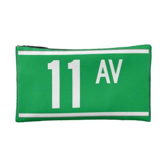 Eleventh Av., New York Street Sign Cosmetics Bags