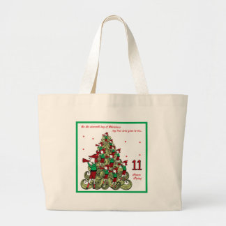 Eleventh Day of Christmas Large Tote Bag