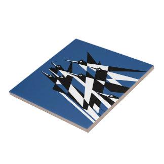 Elévese a los pájaros geométricos del art déco del azulejo cuadrado pequeño