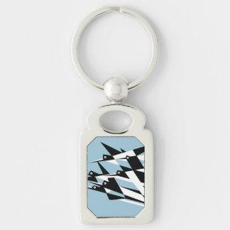 Elévese a los pájaros geométricos del art déco del llavero plateado rectangular