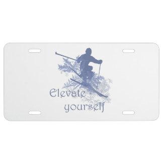 Elévese cita inspirada de esquí de la diversión placa de matrícula