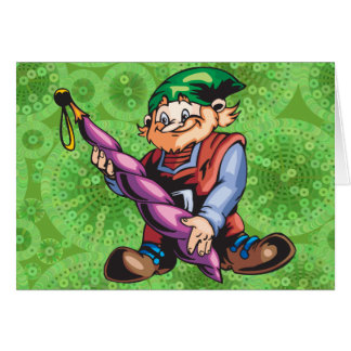 Elf Admiring Ornament Stationery Note Card